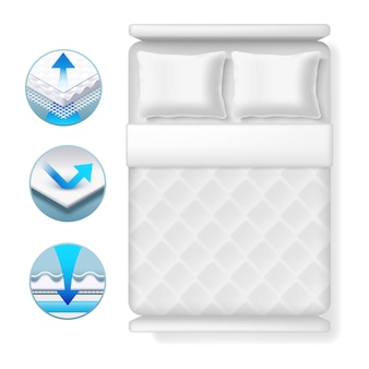 Info icons about bed mattress. realistic white bed with pillows and blanket