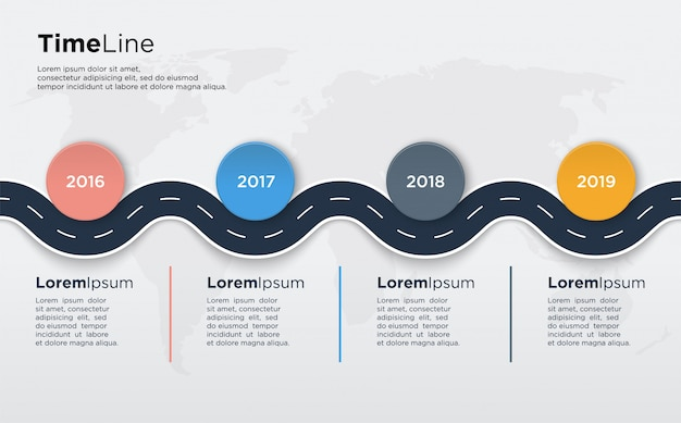 Info time line graph with curved road illustrations and with colorful circles for presentations.