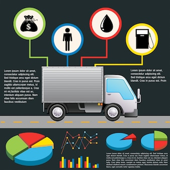 An infochart of a delivery van