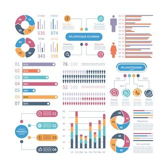 Инфографические графики. бизнес-диаграмма процесса infochart диаграмма блок-схема с иконками людей. векторные элементы финансовой инфографики