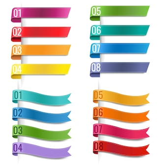 Infografic colorful ribbons collection