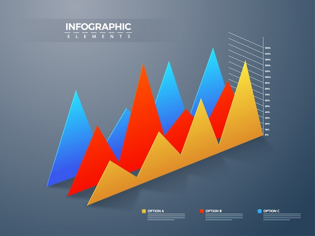 Infograhic element with colorful graph of flautation.