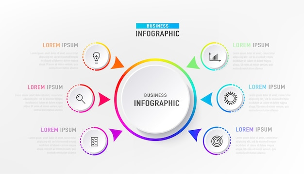 중앙 원이있는 infograph 6 요소. 그래픽 차트 다이어그램, 아이콘이있는 밝은 무지개 색상의 비즈니스 타임 라인 그래픽 디자인.