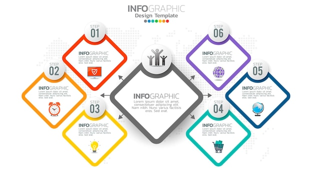 Infograph 6 step color element with circle graphic chart diagram, business graph design