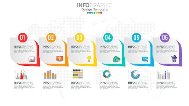 그래픽 차트 다이어그램, 비즈니스 그래프 디자인이있는 infograph 6 단계 노란색 요소.