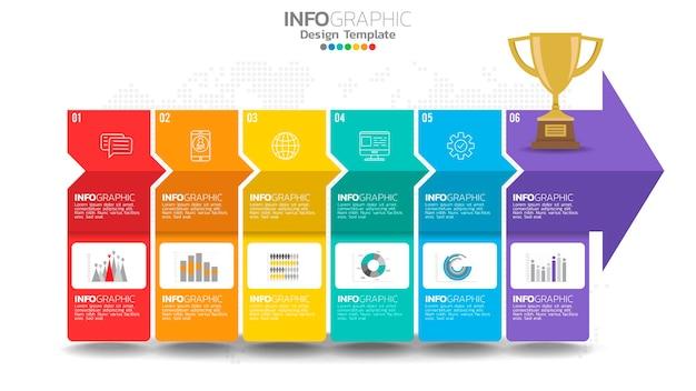 インフォグラフィック6ステップ黄色の要素とグラフィックチャート図、ビジネスグラフのデザイン。