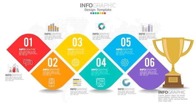 インフォグラフィック6ステップ6色の要素と数字とチャート図、ビジネスグラフのデザイン。