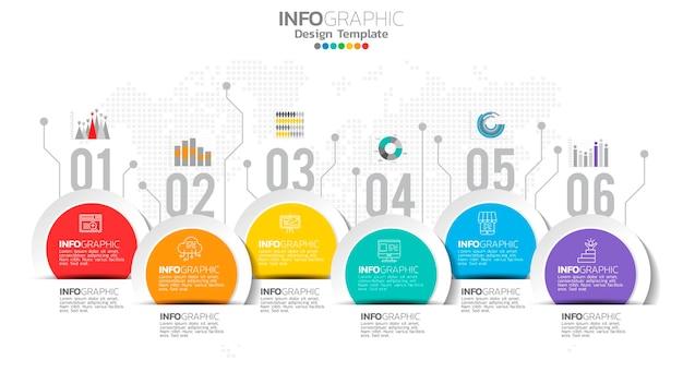 インフォグラフィック6ステップの要素と番号とチャート図、ビジネスグラフのデザイン。