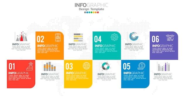 숫자 및 차트 다이어그램, 비즈니스 그래프 디자인이있는 infograph 6 단계 요소.