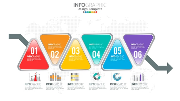 Infograph 6 steps   element with number and chart diagram, business graph design.