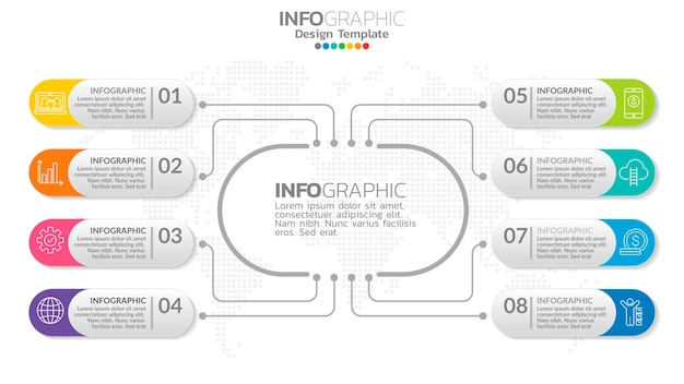 Infograph  element with center circle.  chart diagram, business timeline graphic  with icons.