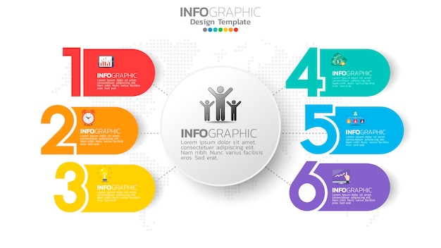Infograph  step color element with circle  chart diagram, business graph .