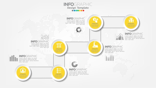 円、チャート図、ビジネスオンラインマーケティングの概念とインフォグラフィックステップ黄色の要素。