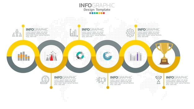 Infograph  step yellow color element with circle graphic chart diagram, business graph design.