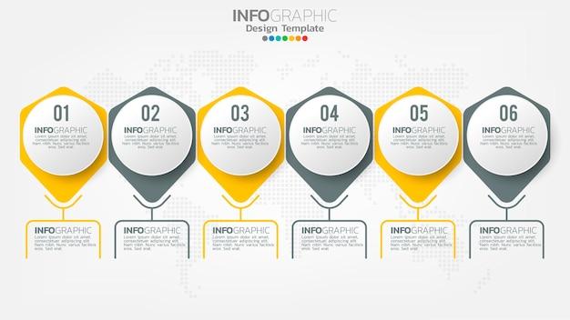 インフォグラフィックは、矢印、チャート図、ビジネスオンラインマーケティングの概念で色要素をステップします。 Premiumベクター
