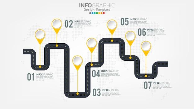 インフォグラフィックは、矢印、チャート図、ビジネスオンラインマーケティングの概念で色要素をステップします。