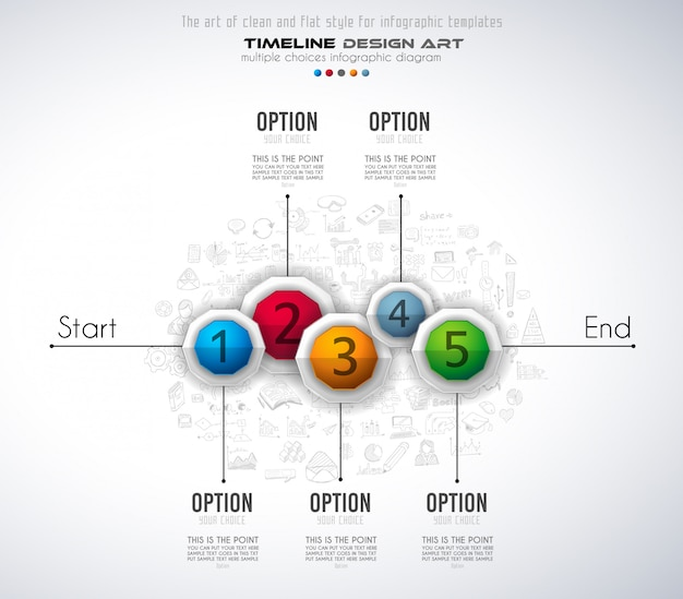 Infograph template with five choices