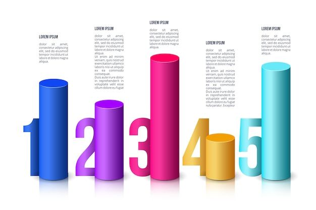 Infographic 3d bars template