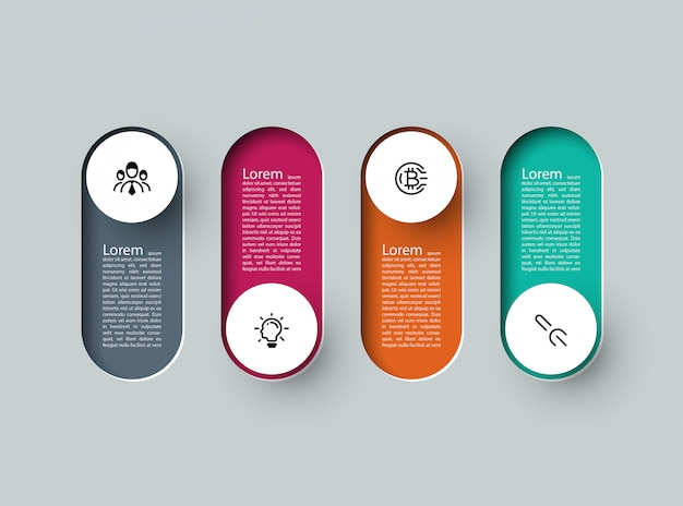 Infographic 3d long circle label, infographic with number 4 options processes.