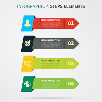 Infographic 4 элементы шагов. векторные иллюстрации