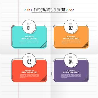 手描きスタイルのインフォグラフィック4ステップ。