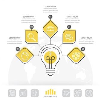 デザイン電球infographic 5つのオプション