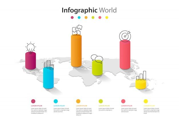 世界地図要素infographic、インフォチャートビジネス6情報アイコン