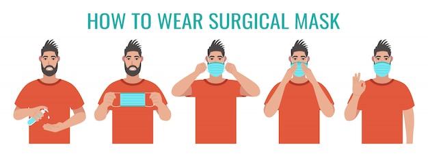 正しいサージカルマスクの着用方法に関するインフォグラフィック。予防ウイルス。図
