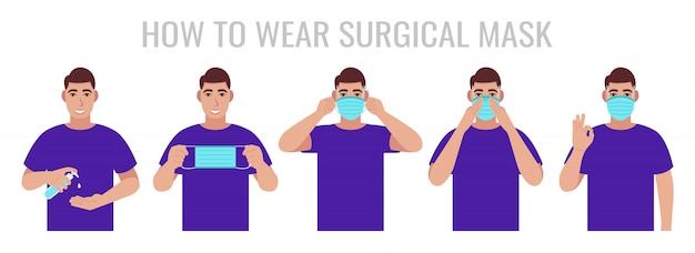 Infographic about how to wear surgical mask correct. man presenting the correct method of wearing a mask, to reduce the spread of germs, viruses and bacteria.