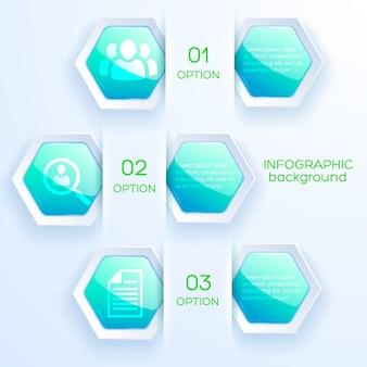 Инфографическая абстрактная концепция с бизнес-иконами и глянцевыми яркими бирюзовыми шестиугольниками