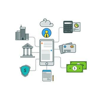 インフォグラフィックアプリビジネスファイナンステンプレートベクター