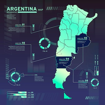 Infographic of argentina neon map in flat design