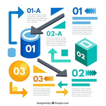 Infographic arrows and abstract shapes