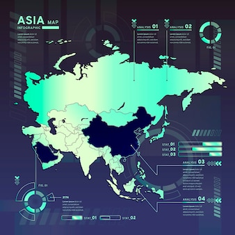 Infographic of asia neon map in flat design