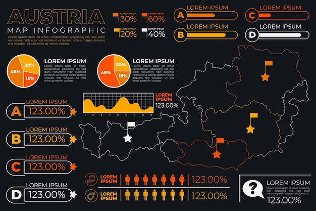 Infographic of austria map in linear design