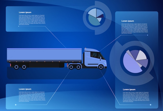 Infographic banner cargo truck trailer vehicle over world map worldwide shipping and delivery concept