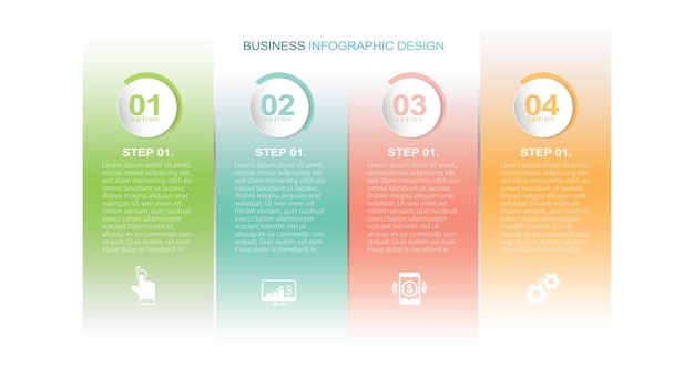 Инфографический баннер с 4 кругами и вкладками стоковая иллюстрация инфографики номер 4 шага