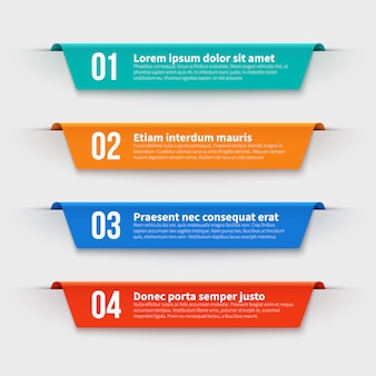 Infographic banners. color labels with steps and options  set