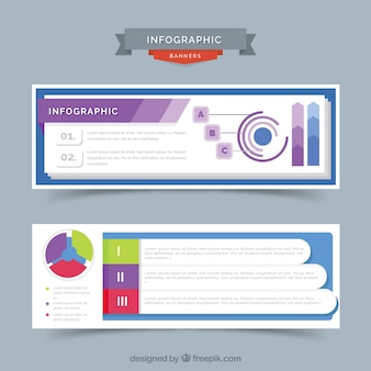 Infographic banners with color details