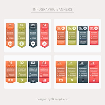 Infographic banners with different designs