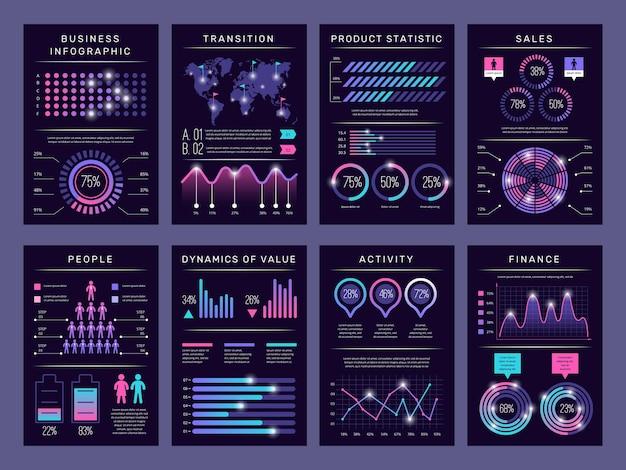 インフォグラフィックパンフレット。現代の抽象的なグラフの視覚化さまざまなチャートデータブックレットテンプレートベクトルデザインセットインフォグラフィックオブジェクト。ビジネスのグラフと図、視覚化の図