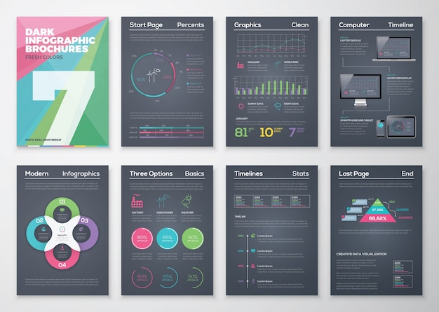 Infographic brohucres on a black background