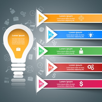 Шаблоны инфографических ламп и значки маркетинга.