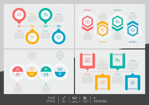 Infographic bundle set with modern style and colorful concept for presentation purpose, business and marketing.