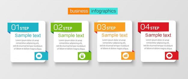 Дизайн шаблона бизнес-баннера инфографики с 4 шагами