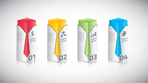 Infographic business bar with tie vector illustration