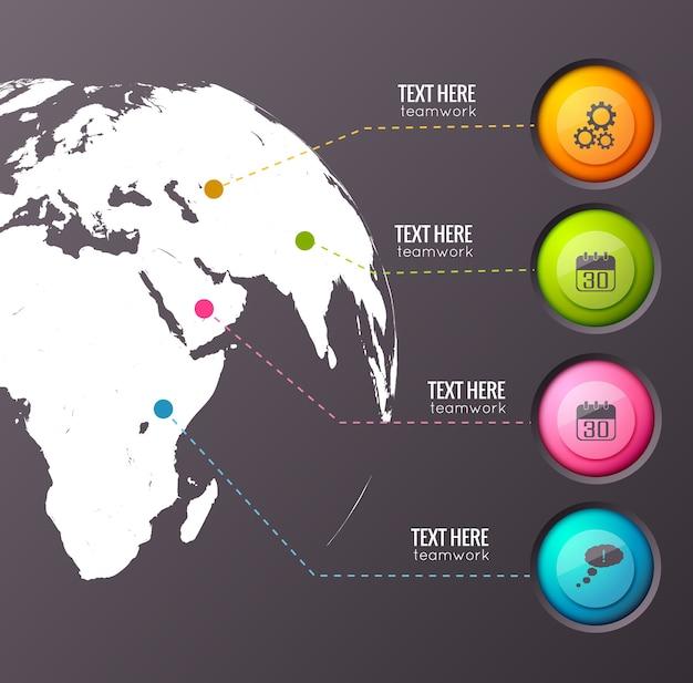 Composizione aziendale infografica della sagoma del globo terrestre collegata con quattro pulsanti colorati dell'interfaccia