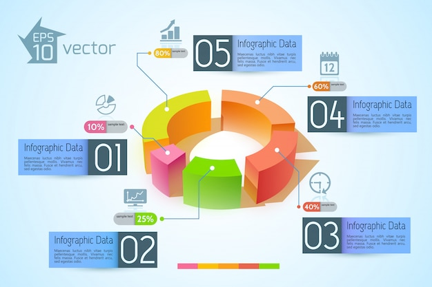 Infographic business concept with colorful 3d diagram five banners text and icons on light illustration