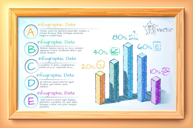 Infographic business concept with hand drawn colorful graphs five options text icons in wooden frame illustration