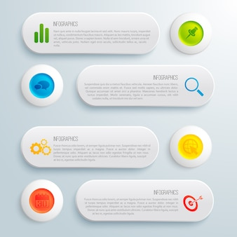 Infographic business conceptual template with gray banners colorful circles text and icons illustration